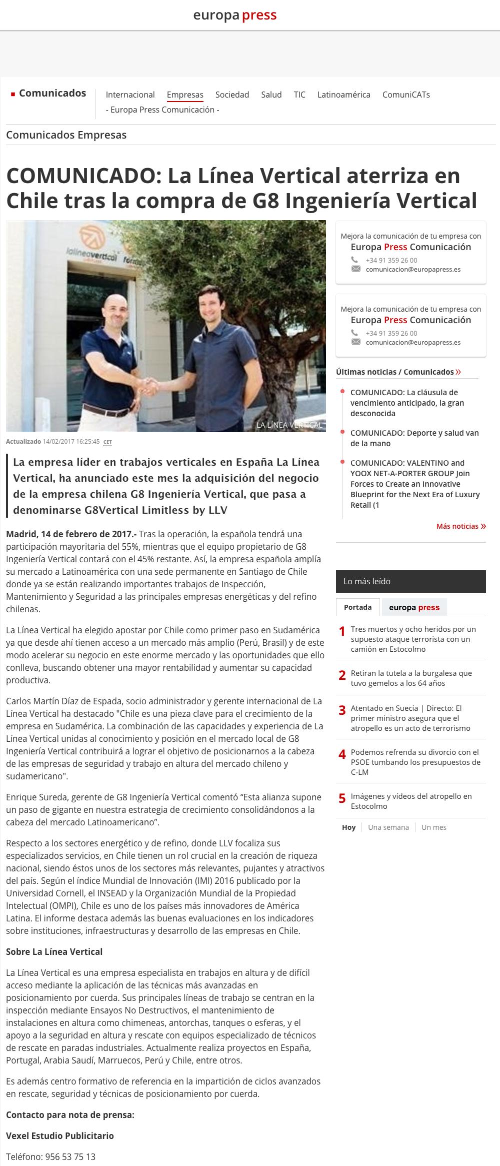 LLV en Europa Press