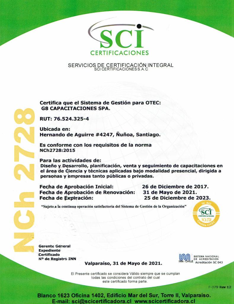 G8 CAPACITACIONES renueva la certificación NCh2428 de calidad y sigue siendo OTEC